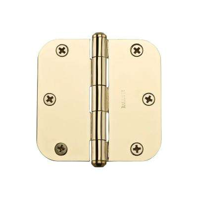3.5 in. Polished Brass Radius Hinge