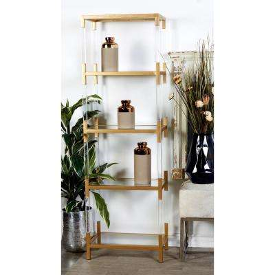 Metallic Gold Iron and Clear Glass and Acrylic 5-Tier Shelf
