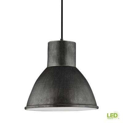 Division Street 15 in. W. 1-Light Weathered Gray Pendant with LED Bulb