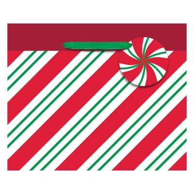 4.5 in. x 5.5 in. x 2.75 in. Christmas Stripes Hot Stamped Paper Small Horizontal Bag (24-Pack)