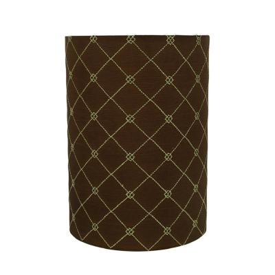 8 in. x 11 in. Brown with Checker Pattern Drum/Cylinder Lamp Shade