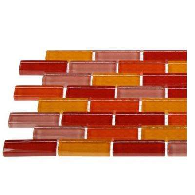 Contempo Sashimi 1/2 in. x 2 in. Polished Glass Tiles in Brick Pattern Sample