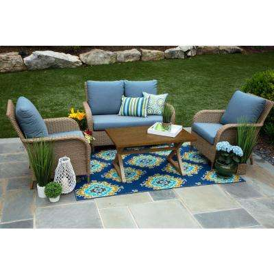 Tupelo 4-Piece Resin Wicker Patio Deep Seating Set with Sunbrella Spectrum Denim Cushions