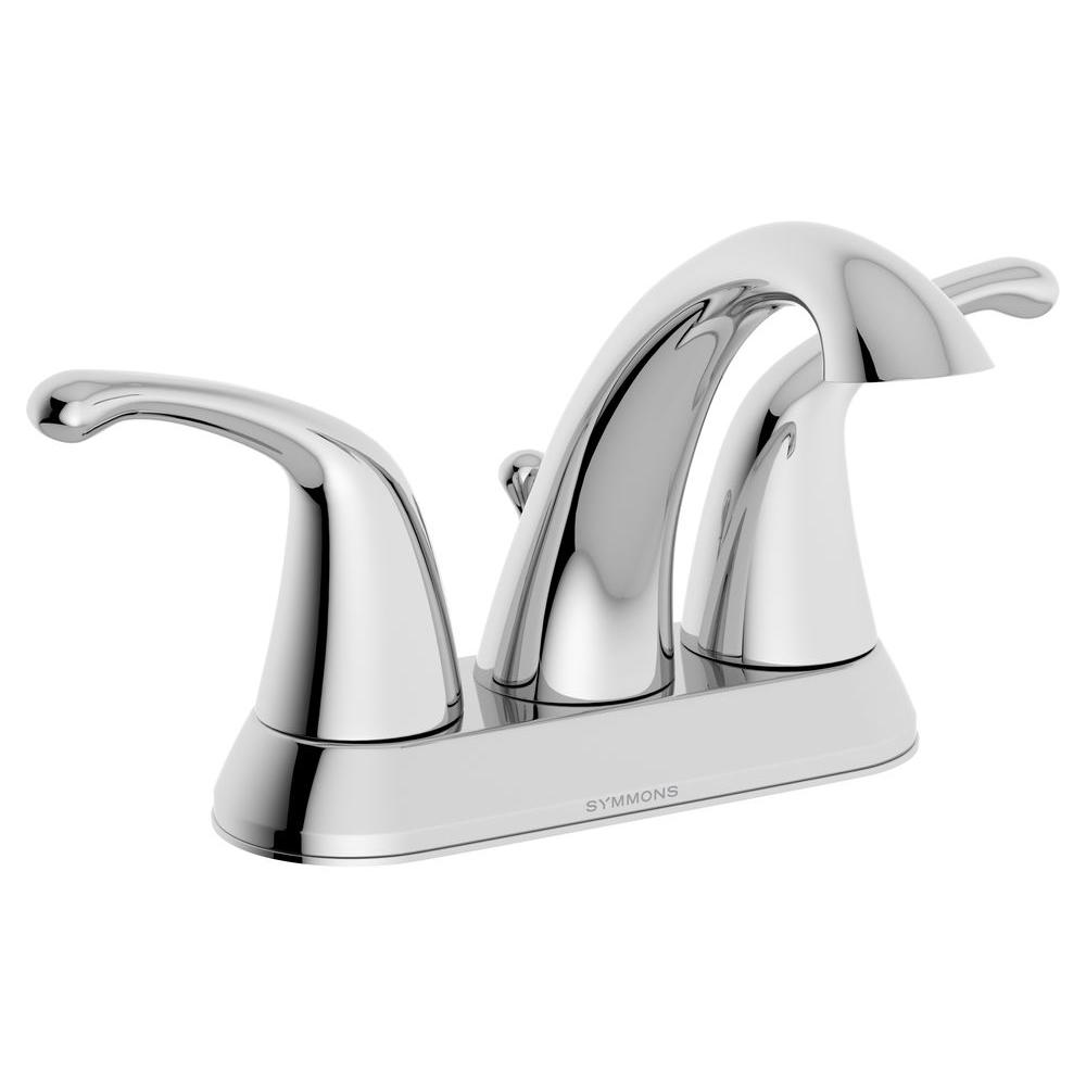 Symmons Unity 4 in. Centerset 2-Handle Mid-Arc Bathroom Faucet in ...