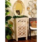 HomeRoots Shelly Assembled 18 in. x 18 in. x 13 in. White Washed Wood Raised Accent Storage Cabinet with Glass Door