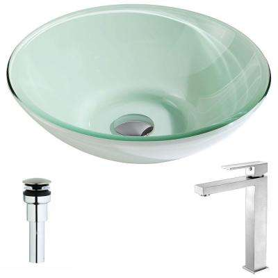 Sonata Series Deco-Glass Vessel Sink in Lustrous Light Green with Enti Faucet in Brushed Nickel