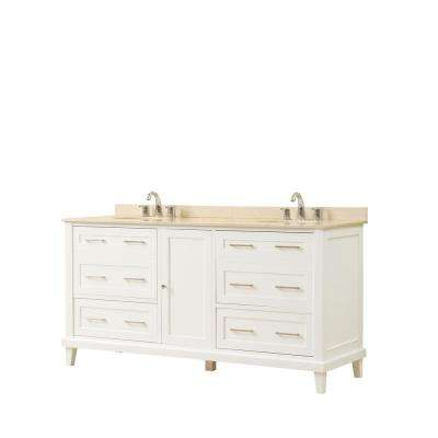 Winslow 70 in. W x 23 in. D Vanity in White with Marble Vanity Top in Beige with White Basin