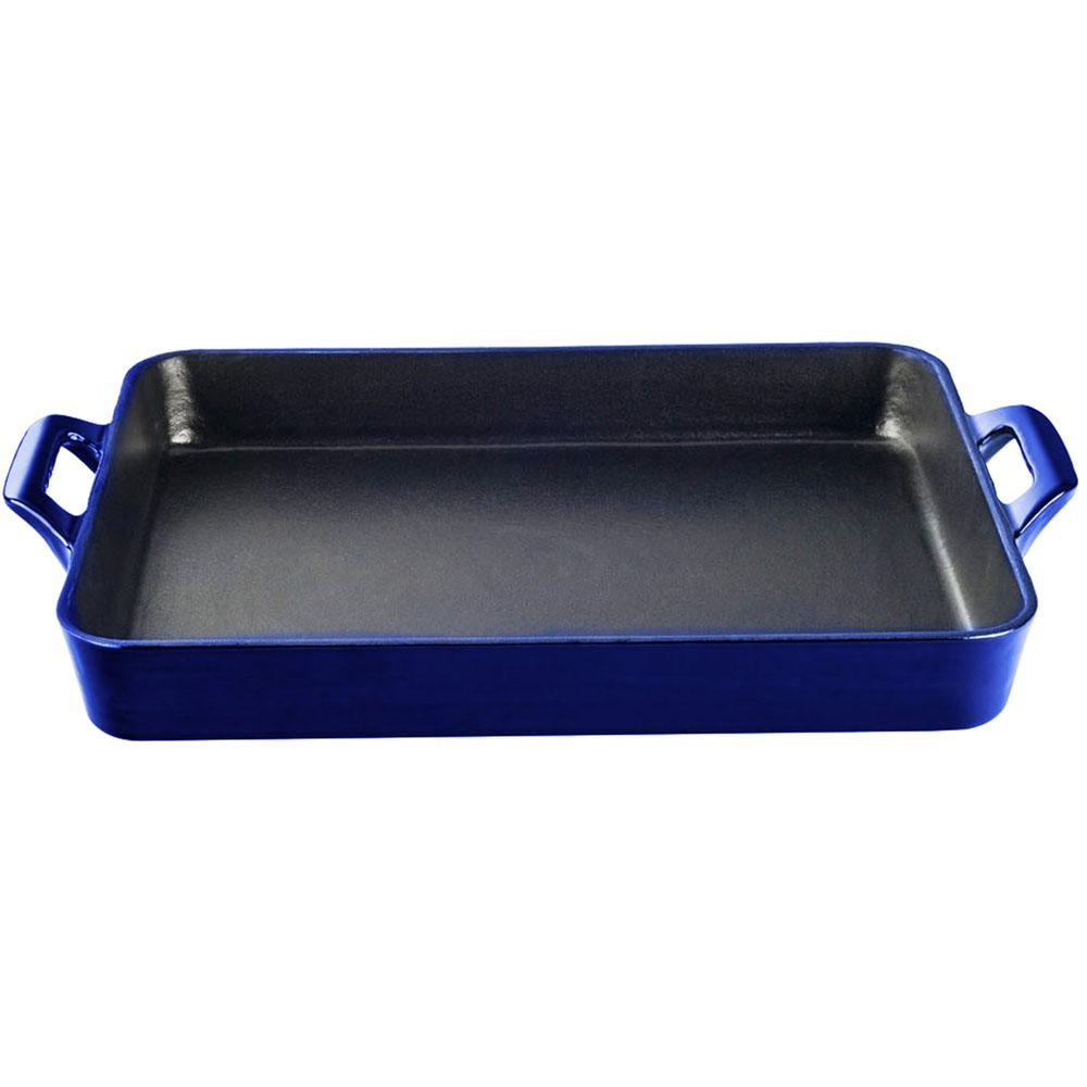 Shallow Cast Iron Roasting Pan with Enamel in High Gloss Sapphire