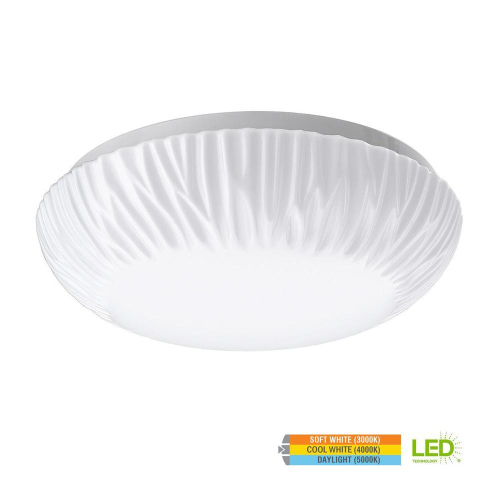 ETi Dimmable 11 in. White Dome LED Flush Mount Ceiling Light FixtureEtchedCover Lens 910 Lumens 3000K 4000K 5000K