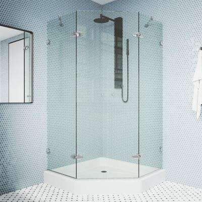 Gemini 47.625 in. x 78.75 in. Frameless Neo-Angle Shower Enclosure in Chrome with Clear Glass with Base in White