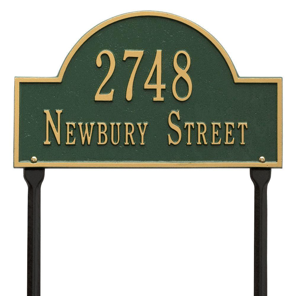 Arch Marker Standard Green/Gold Lawn 2-Line Address Plaque