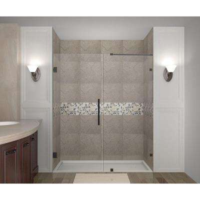 Nautis GS 60 in. x 72 in. Completely Frameless Hinged Shower Door with Glass Shelves in Oil Rubbed Bronze