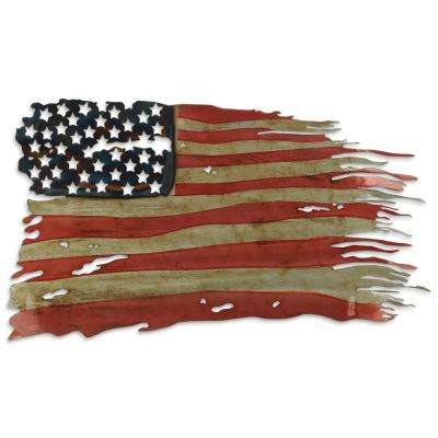 """Free and Brave - American Flag"" Metal Hand Painted Etched Wall Sculpture"