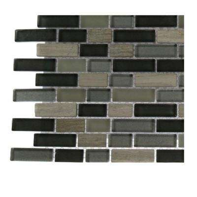 Naiad Blend Bricks Marble and Glass Tile Brick Pattern - 6 in. x 6 in. x 8 mm Floor and Wall Tile Sample