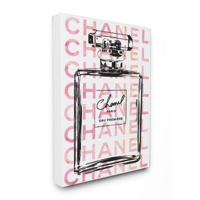 """30 in. x 40 in. """"Glam Perfume Bottle With Words Pink Black"""" by Amanda Greenwood Printed Canvas Wall Art"""