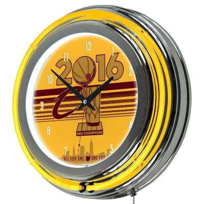 14 in. Cleveland Cavaliers 2016 NBA Champions Chrome Double Ring Neon Wall Clock