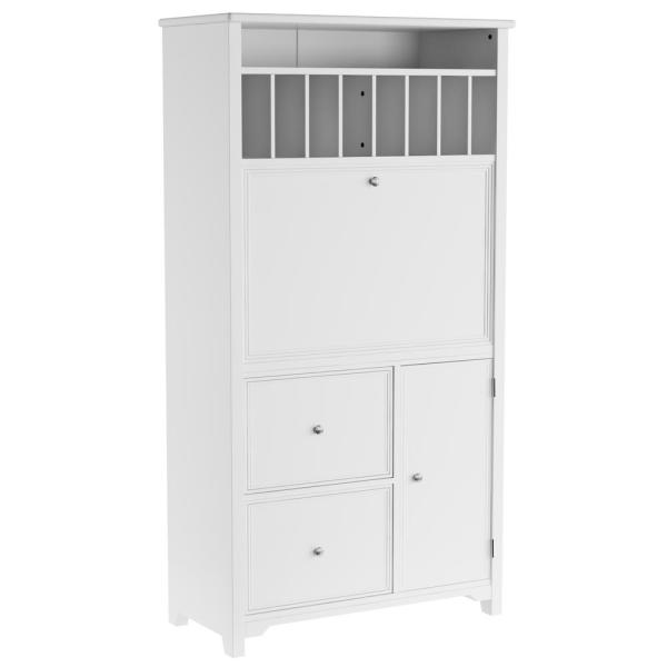 32 in. Rectangular White 2 Drawer Secretary Desk with Solid Wood Material