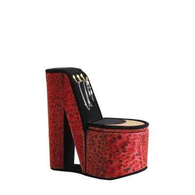 9 in. High Heel Shoe Display with Hooks Leopard Iridescent Print Jewelry Box