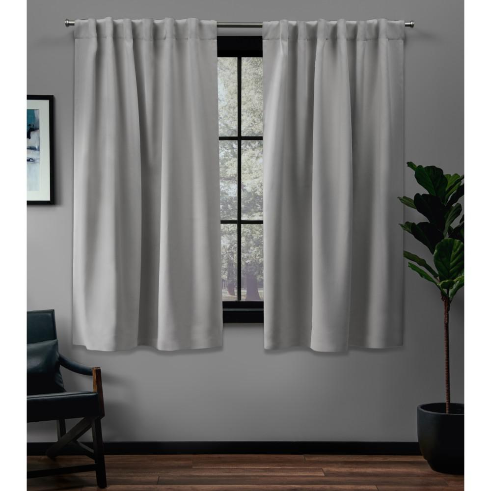 Exclusive Home Curtains Sateen 52 in. W x 63 in. L Woven Blackout Hidden Tab Top Curtain Panel in Silver (2 Panels)