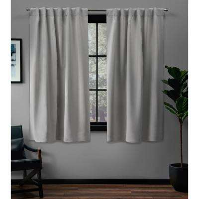 Sateen 52 in. W x 63 in. L Woven Blackout Hidden Tab Top Curtain Panel in Silver (2 Panels)