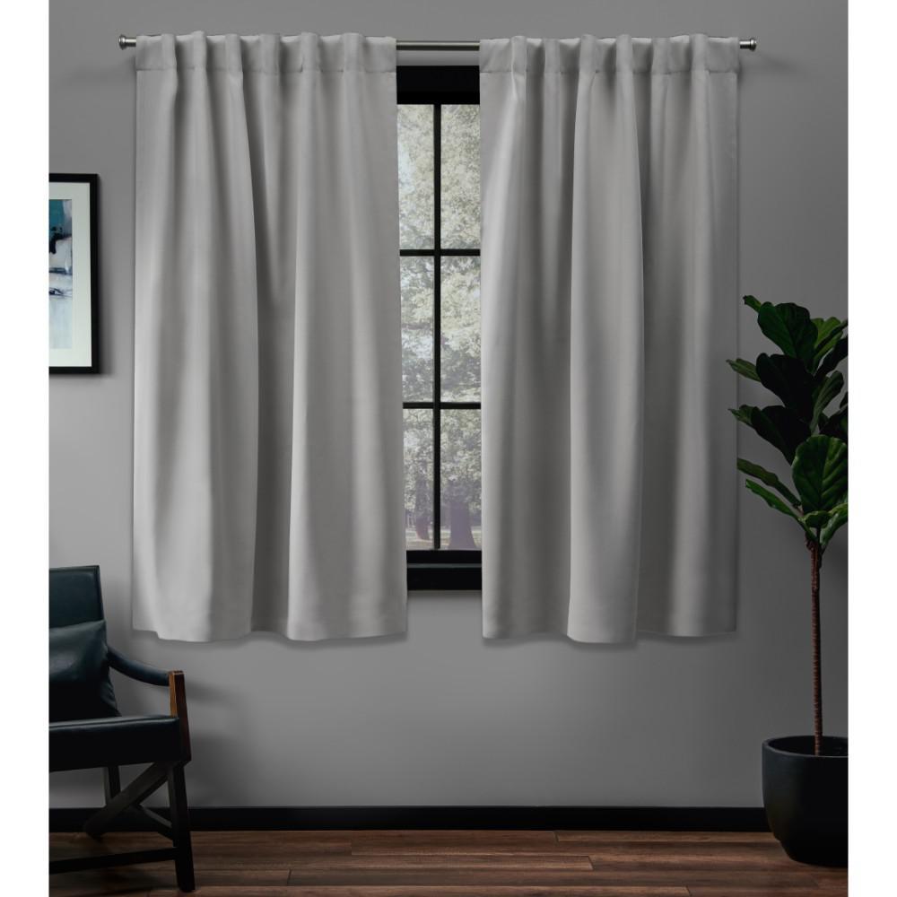 Sateen 52 in. W x 63 in. L Woven Blackout Hidden Tab Top Curtain Panel in Silver (2 Panels)