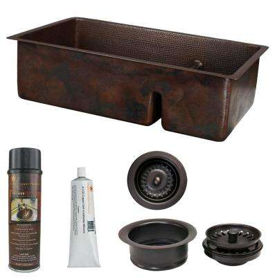 Dual Mount Copper 33 in. 70/30 Double Bowl Short Divide Kitchen Sink and Drain in Oil Rubbed Bronze