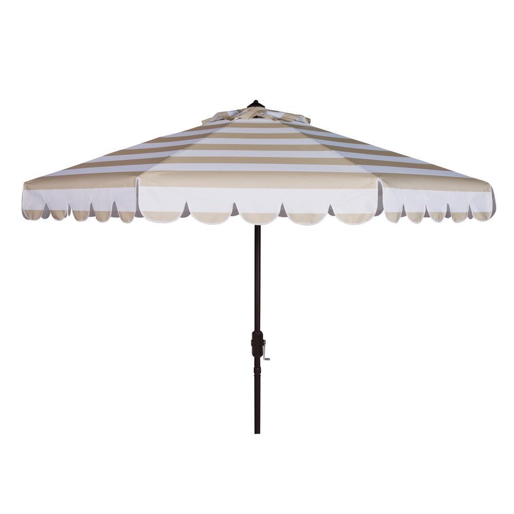 Maui 9 ft. Aluminum Market Tilt Patio Umbrella in Beige/White