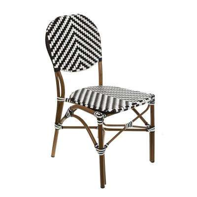 Brown Aluminum Stackable Black and White Plastic Wicker Bistro Chair Commercial Grade Outdoor Dining Chair