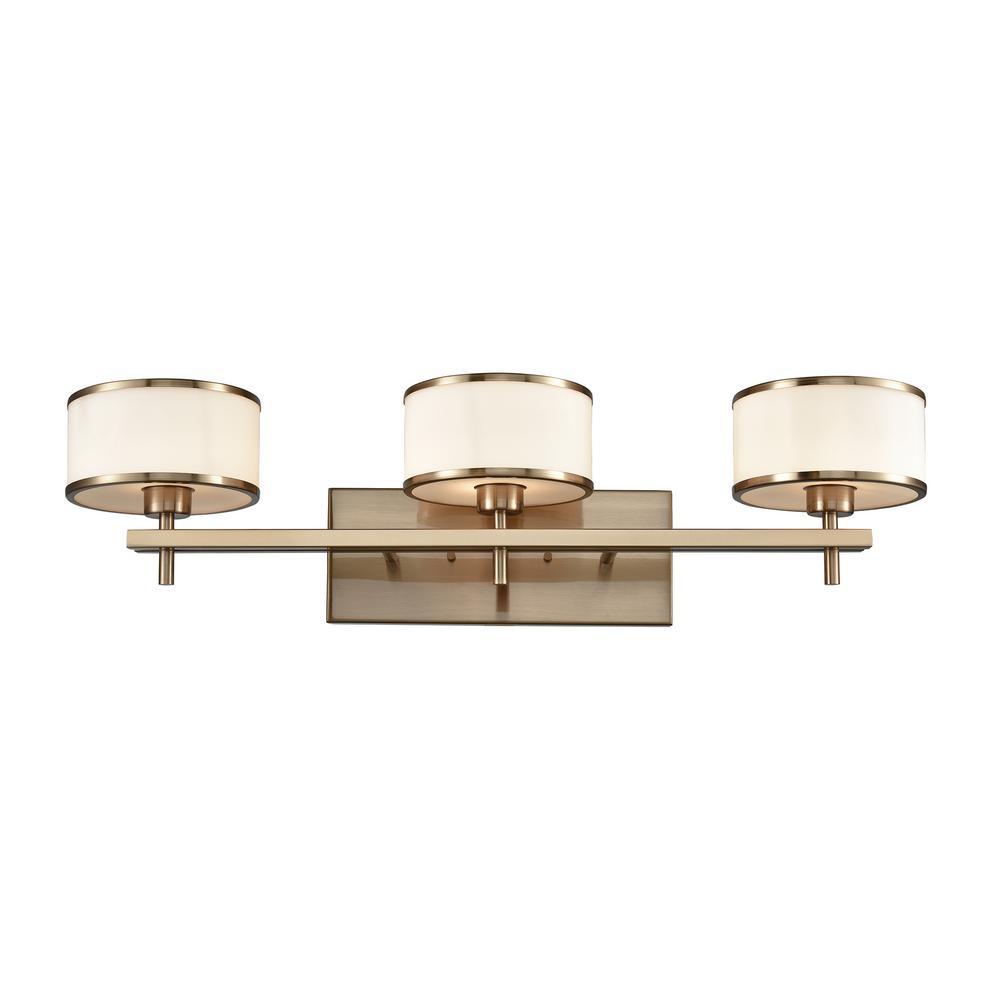 Titan Lighting Utica 3-Light Satin Brass with Opal White ...