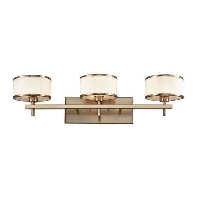 Utica 3-Light Satin Brass with Opal White Glass Bath Light