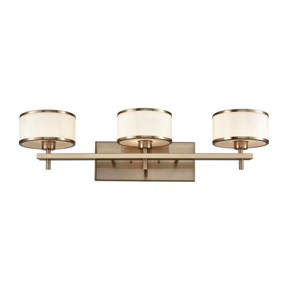 Utica 3-Light Satin Brass with Opal White Glass Bath Light
