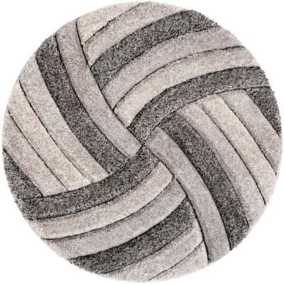 San Francisco Ucci Grey Modern Geometric Stripes 5 ft. 3 in. x 5 ft. 3 in. 3D Carved Shag Round Rug