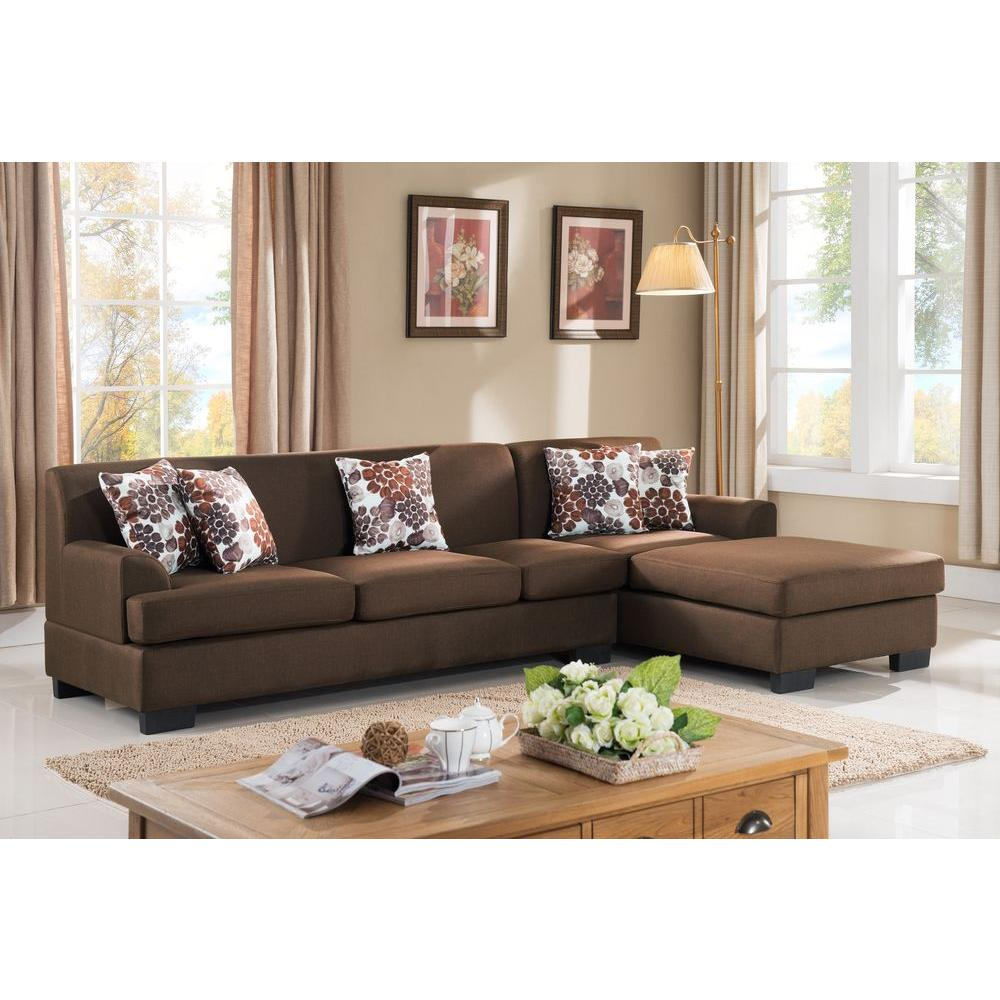 2 Piece Brown Linen Sectional