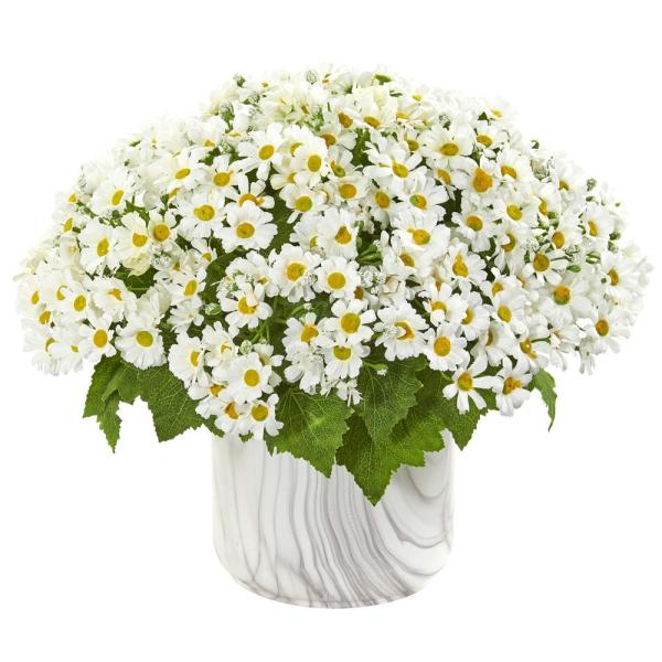 Nearly Natural Indoor Daisy Artificial Arrangement in Marble Vase 1834-WH