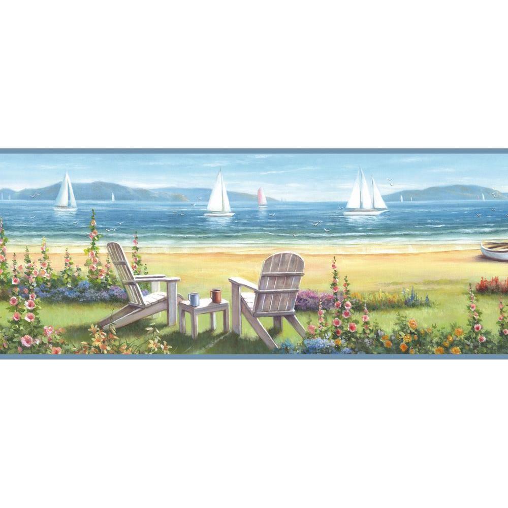 Barnstable Blue Seaside Cottage Wallpaper Border Sample