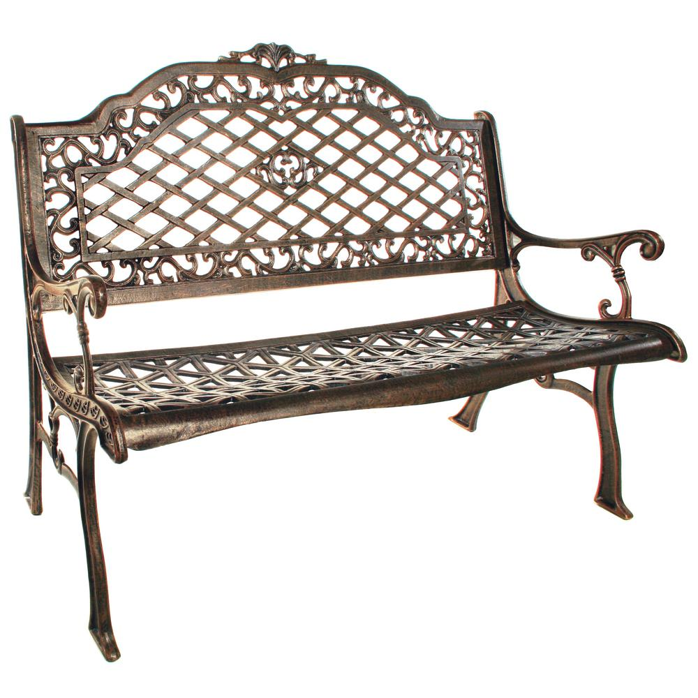 Mississippi Cast Aluminum High Back Outdoor Bench Settee