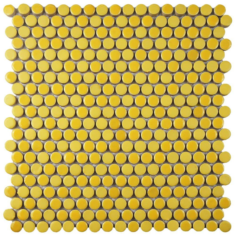 Merola Tile Comet Penny Round Yellow 11 1/4 In. X 11