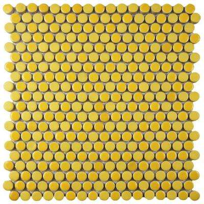 Comet Penny Round Yellow 11-1/4 in. x 11-3/4 in. x 9 mm Porcelain Mosaic Tile