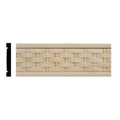 990 11/32 in. x 2-1/2 in. x 96 in. White Hardwood Embossed Basketweave Chair Rail Moulding