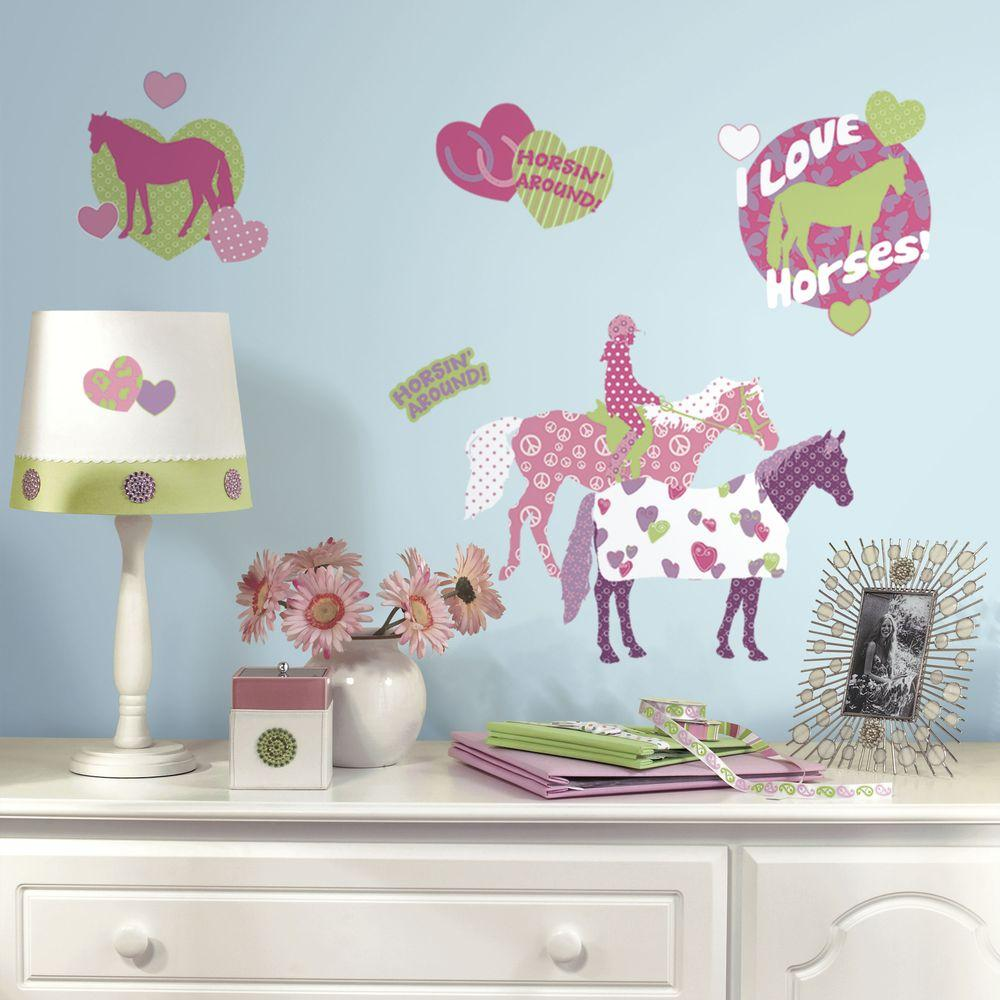 5 in. x 11.5 in. Horse Crazy Peel and Stick Wall