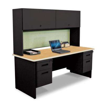 72 in. W x 30 in. D Mahogany Laminate, Black and Chalk Fabric 72 in. Double File Desk with Flipper Do or Cabinet