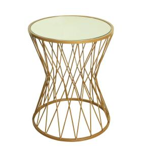 Hourglass Metal Accent Table Gold Mirror Top