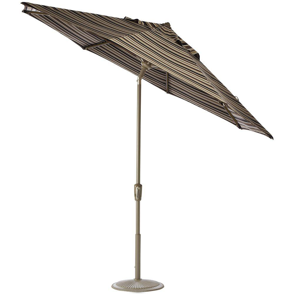 Home Decorators Collection 11 ft. Auto-Tilt Patio Umbrella in Espresso Stripe Sunbrella with Champagne Frame