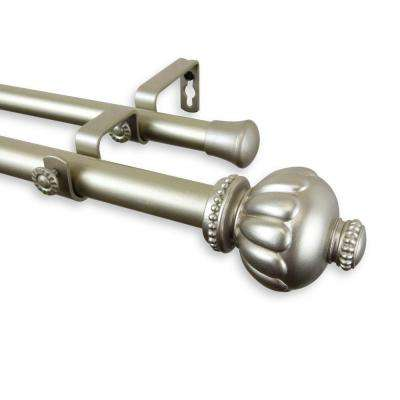 48 in. - 84 in. Telescoping 1 in. Double Curtain Rod Kit in Light Gold with Selma Finial