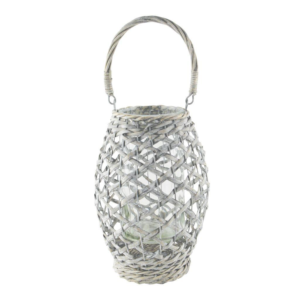 Syndicate 9 in. Willow Lantern with 4 in. x 8 in. Glass Cylinder