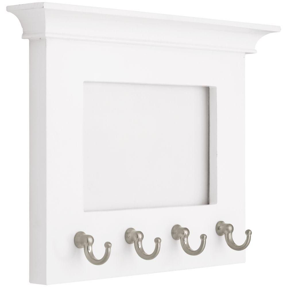 White And Satin Nickel Picture Frame Key Rack