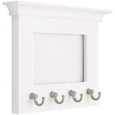 6 in. White and Satin Nickel Picture Frame Key Rack