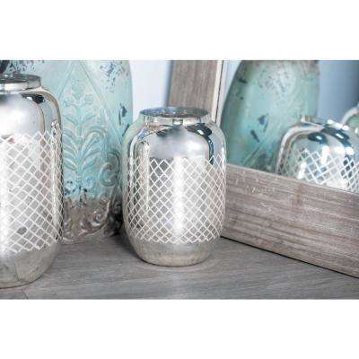 11 in. Silver Crisscross-Patterned Cylindrical Glass Candle Holder