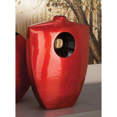 18 in. Red Bottle-Shaped Decorative Vase with Lacquer Finish