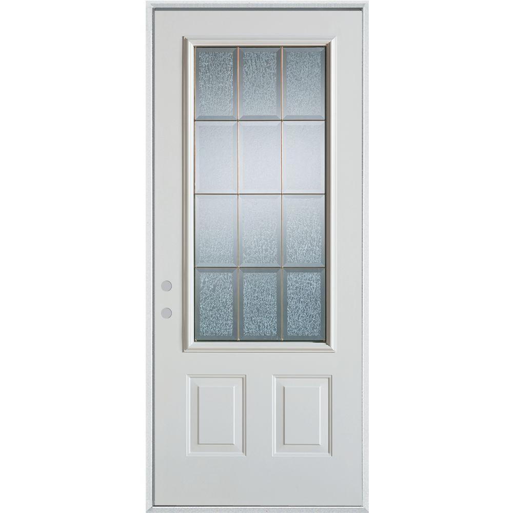 Stanley Doors 32 in. x 80 in. Geometric Glue Chip and Brass 3/4 Lite 2-Panel Painted Right-Hand Inswing Steel Prehung Front Door